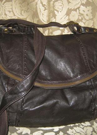 Next оригинал сумка большая кожаная женская кроссбоди почтальонка натуральная кожа