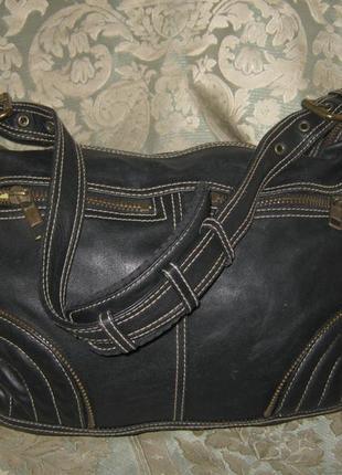 Gap сумка женская черная брутальная кожаная оригинальная на молнии натуральная кожа