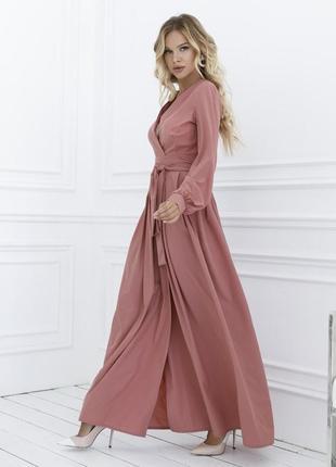 Шикарное розовое кремовое длинное платье кроя на запах