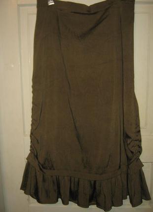 Стильная юбка волан сбоку на кулиске жаккард италия