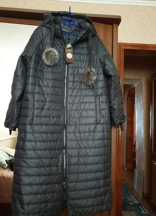 Шикарное новое пальто пуховик alberto bini.