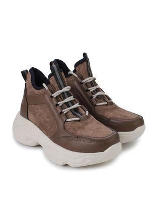 Коричневые замшевые кроссовки на платформе ботинки демисезонные осенние весенние