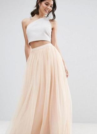 Needle & thread/skirt/юбка макси/брендовая юбка/бежевая юбка/шифоновая юбка