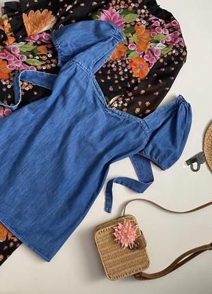 Крутое джинсовое платье с объемным рукавом zara