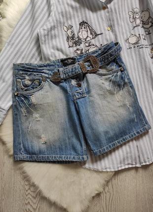 Синие голубые короткие длинные плотные джинсовые шорты с ремнем christian dior бриджи