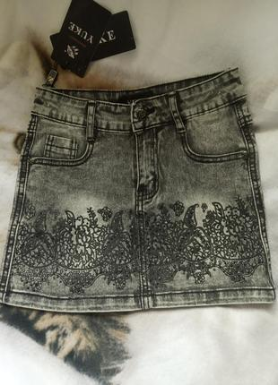Красива джинсова спідничка на дівчинку yuke