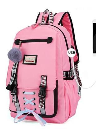 Качественный школьный рюкзак для девочки с usb-портом и кодовым замком