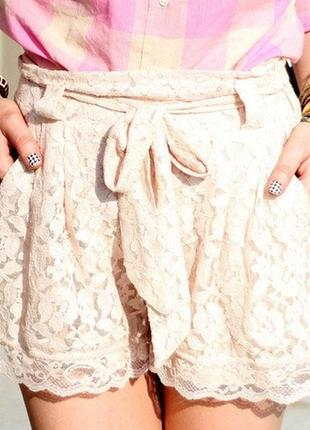 Ажурные секси шорты гипюр бежевые нюд пудровые розовые короткие h&m нарядные