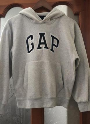 Серая спортивная кофта gap, серое худи с капюшоном