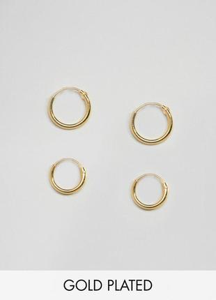 🍋🍍 набор серебряных позолоченных серьг-колечек 2 пары от kingsley ryan