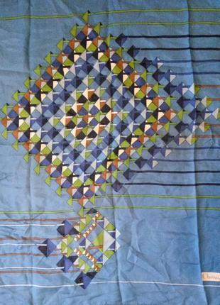 Christian dior шелковый платок подписной, 100% оригинал! шов роуль. размер 75 х 76 см