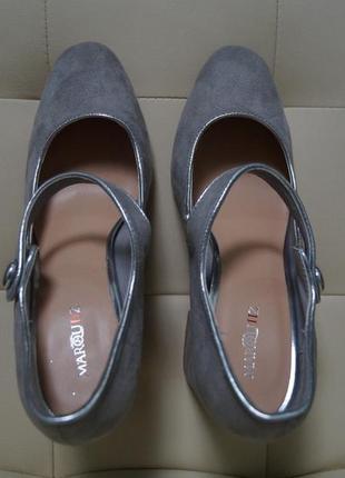 Новые замшевые туфли серые на устойчивом квадратном каблуке marquiiz