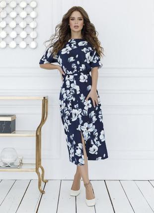 Крутое темно синее платье с цветочным принтом