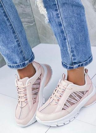 Модные розовые пудровые кроссовки в стиле баленсиага balenciaga, размер 36,37,38,39,40,41