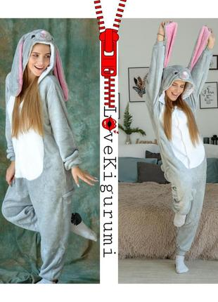 🎁подари тепло❤мягкие тёплые пижамы кигуруми зайка