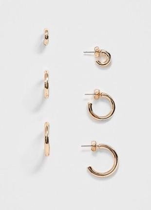"""🐞🌼 базовый набор серьг-гвоздиков 3 пары """"колечки"""" разного размера от monki"""