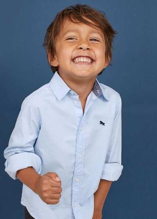 Школьная голубая рубашка h&m 122 128 134 140