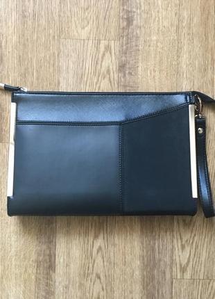 Новый классический черный клатч accessorize с золотой фурнитурой