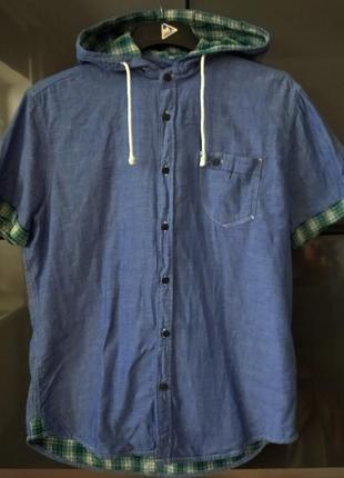Рубашка джинсовая из двойной ткани с капюшоном ckh