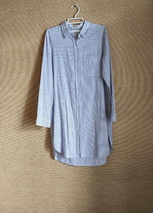 Льняное платье рубашка сорочка сукня в полоску из смесового полотна