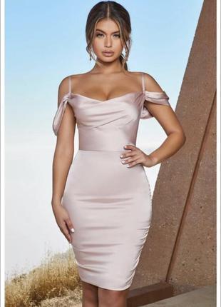Шикарное нежное  сатиновое шёлковое вечернее платье нюдовое oh polly