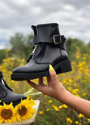 Женские ботинки из натуральной кожи, с ремешками