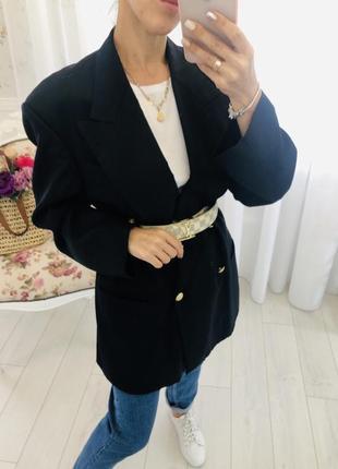 Шерстяной винтажный двубортный жакет пиджак с мужского плеча hugo boss