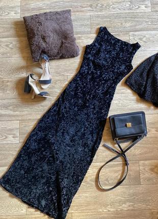 Фактурное вечернее платье в пол zara, шёлковое бархатное нарядное платье