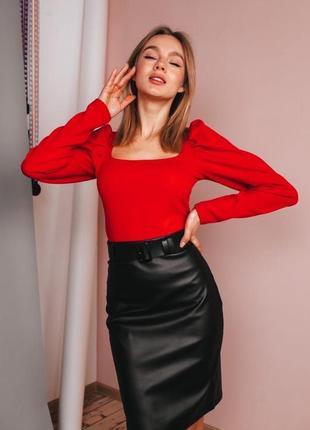 Костюм спідниця,  юбка миди і блуза з обємними рукавами