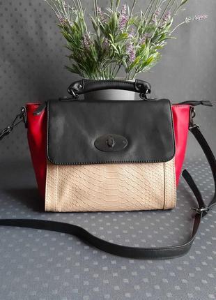 Красивая разноцветная вместительная сумка с длинным ремешком