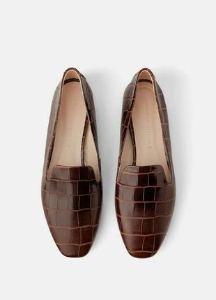 Кожаные лоферы, туфли, мокасины zara 37-38