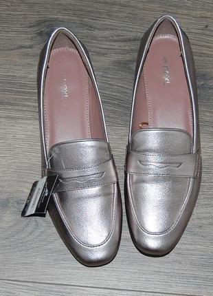 Туфли лоферы серебристые 39 р