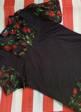 Шикарная шелковая винтажная блуза в розы