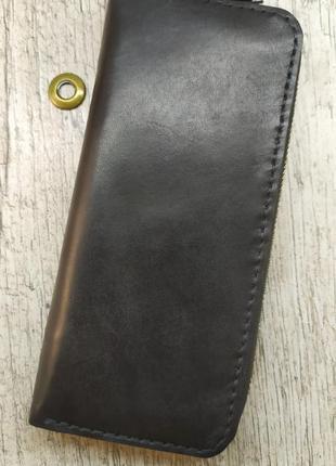 Мужской кошелек, клатч на молнии, ручная работа,  черный
