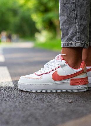 Nike air force white\coral 🍒 шикарные кроссовки 🍒найк еир форс наложенный платеж