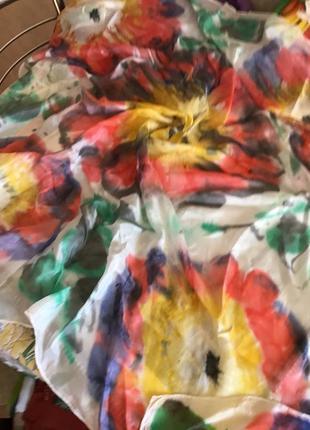 Шелковый платок акварели ,шов роуль seide