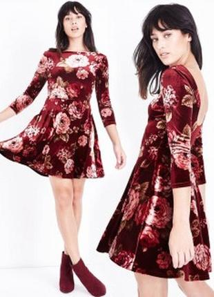 Велюровое платье в цветочный принт new look