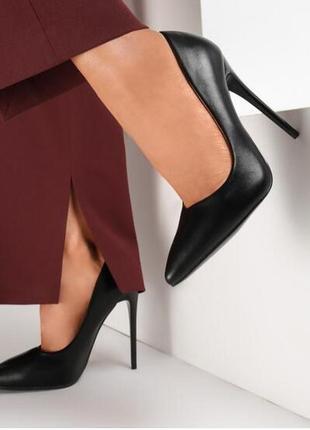 Кожаные туфли-лодочки zara