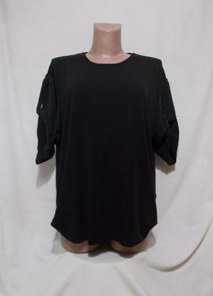 Блуза-топ черная вискоза-шелк oversize 'cos' 44-50р