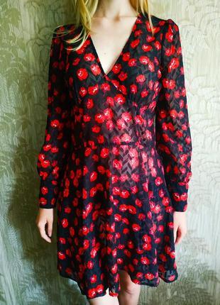 Morgan платье в цветочный принт, платье в маки, шифоновое платье миди, объемные рукава