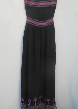 Летнее платье в пол  бюстье  вышиванка из вискозы