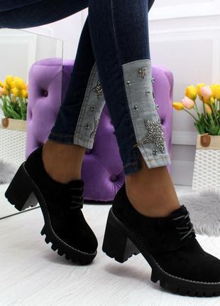 Новые женские чёрные туфли на каблуке