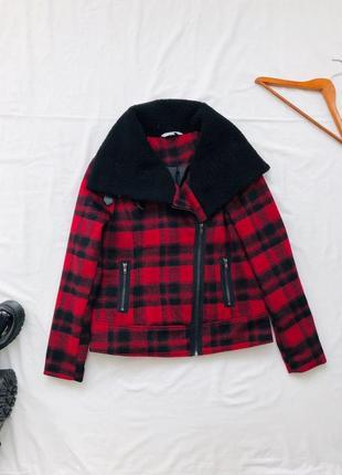 Клетчатая куртка косуха / куртка в клетку / шерстяная косуха/ шерпа