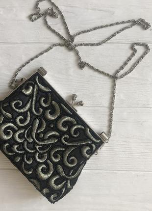 Винтажная сумка, мини-сумка, в бисере, с вышивкой, на цепочке, сатиновая