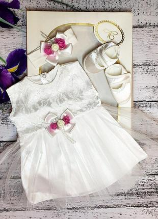 Для маленького ангелочки 0_3 платье,пинетки ,повязка на головку🌹