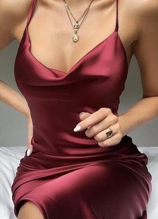 Шикарное сатиновое шёлковое платье винный цвет oh polly