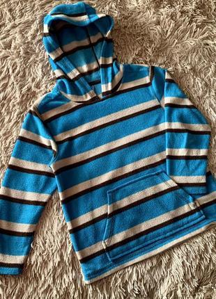 Флисовая кофта с карманами и капюшоном размер 122-128 ( 6-7лет)