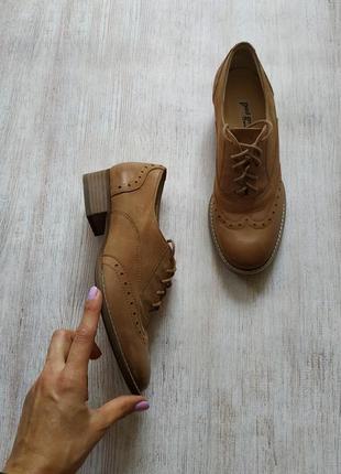 Paul green кожаные туфли ботинки броги оксфорды кэмэл