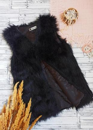 Длинный черный меховой жилет мех liangdian