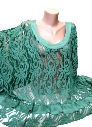 Изумрудная кружевная туника, мини-платье для шикарной леди, one plus size xl-8xl